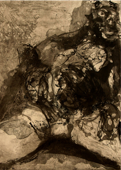 "Lisa G Bauer ""Underwater Is Complete"" 18 X 24 Inches Edition 1/5 Intaglio, Sugar lift, Aquatint 2005"