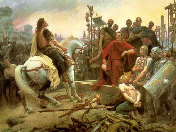 heathenlight:   Vercingetorix (an Arvenian leader of the Gaulish resistance against Rome) submissing to Caesar after the gaulish war. Painting by L.N. Royer