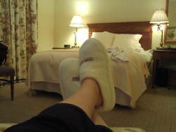 Kickin' back at the Capital Hotel with complimentary slippers on.  THIS HOTEL IS AMAZING!