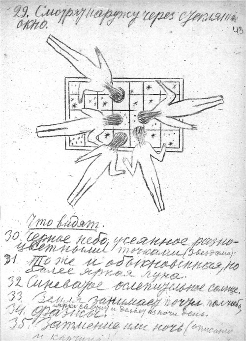 "Another from Konstantin Tsiolkovsky's 1933 paper ""Album of Space Travel"", a drawing of people floating while looking at stars through a window."