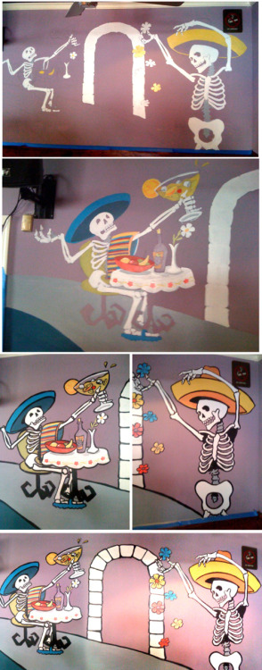 """Day Of The Dead Mural""  Wall mural for Mexican restaurant NYC. ©2011 thebrokenart"