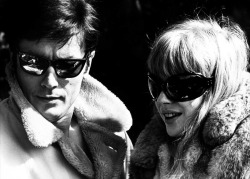 Alain Delon & Marianne Faithfull in The Girl on a Motorcycle, 1968.