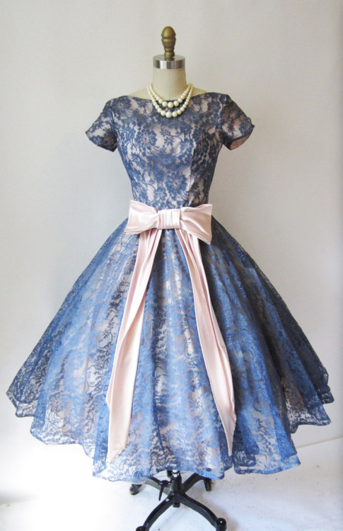 1950's Blue Lace Cocktail Dress