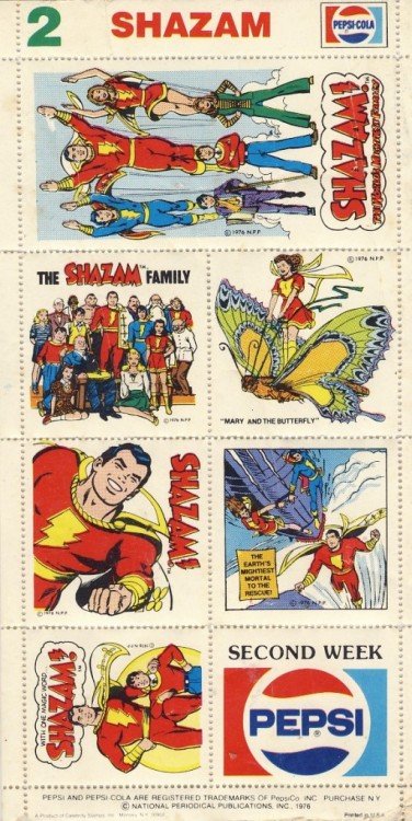 Shazam collector stamps (I guess?) from Pepsi.