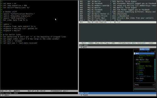 absinthist:  My new Screen setup. emacs23 on the left, mutt and finch on the right (top and bottom respectively.) <3 Thanks to Matt Ball, for incepting the idea into my head.