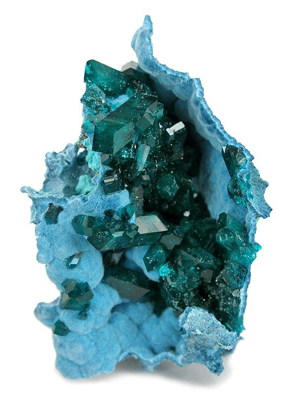 mineralia:  Dioptase on Chrysocolla from Namibia