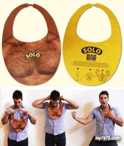 43- Solo Man Bib Advertising campaign for  Australia's Solo soft drinks- this man hairy chest bib is  insinuating that it can make the boys into real men. Rather crude and petty symbolism. Still amusing in the aspect that it manipulates ones self image and converts it into a medium that is ironic since the fellow here doesn't necessarily look young, he looks to be a bit older and the fact that he needs that to pretend to be a man is a pathetic excuse to indulge in. It's humorous because its as if he's endangering himself if he lets his chest remain bare, and that it must be cloaked in that. Target audience would be geared towards males, but what about a female bib? I should like to see that!