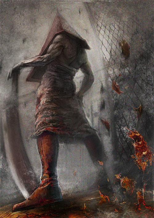 geeksngamers:  Silent Hill - by Yusuke Katakari  Pyramid Head always freaked me the fuck out. Also, the only person he ripped skin off on screen in the Silent Hill movie was a girl named Anna. -sigh-