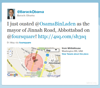 flapic:  Hahaha… Obama just ousted Bin Laden as Mayor!