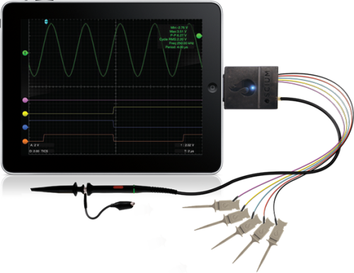 Mixed signal oscilloscope for iOS devices