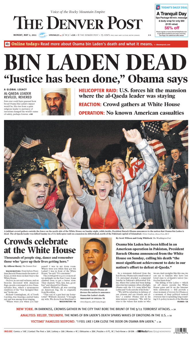 "denverpost:  Our front page today:    Crowds celebrate at the White House By Allison Sherry The Denver Post WASHINGTON» Even before President Barack Obama made the news official, crowds were on their way to the White House. Onfoot, in cars and on buses, and on bicycles decorated with American flags, people converged at 1600 Pennsylvania Ave., where a spontaneous rendition of the ""Star Spangled Banner"" broke out."
