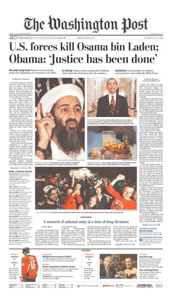 inothernews:  Front page, The Washington Post, Monday 2 May 2011.