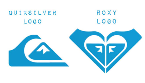 Logos: Roxy, Quiksilver's sister brand of products for women, has a logo that is simply a mirrored version of the main Quiksilver logo.