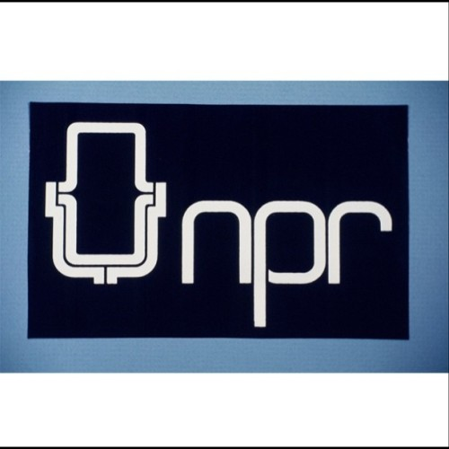 npr:  This week we're celebrating the 40th anniversary of NPR's All Things Considered. This week we're going to go retro with some pics over those 40 years. Here's our very first logo.  (Taken with instagram)  NPR's first logo.