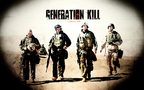 wraparoundcurl:  apriki:  Generation Kill is a HBO miniseries that follows a Rolling Stone reporter, embedded with The 1st Recon Marines, and their collective experience during the first wave of the American-led assault on  Baghdad in 2003. Featuring Alexander Skarsgard, impromptu singing of your favourite early noughties pop ballads, and sand. Lots and lots of sand. 01 - Get Some02 - Cradle of Civilization03 - Screwby04 - Combat Jack05 - A Burning Dog06 - Stay Frosty07 - The Bomb in the Garden  This is a beautiful series. The cast is incredible. I'm not one for war stories usually. But I loved Generation Kill because it was more of a road trip, gone awry of course, kind of story. These men are fantastic. They were the first troops on on the ground in Iraq in open humvees, wearing forest camo in the desert, with one translator and not enough maps and batteries to go around. I love that a woman was involved with writing and directing and that Evan Wright who wrote the book also wrote episodes. There is no soundtrack or music to guide you through the story, the environment speaks for the series. But there are the moment, when the men sing. And it's just the sweetest.