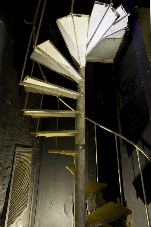 Wardenclyffe. Spiral stairs at the former (and only remaining) lab of Nikola Tesla, now a Superfund site.