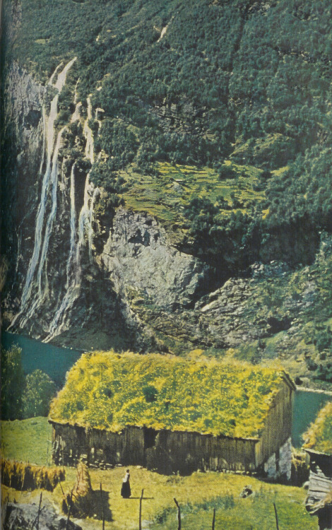 A sod-roofed cottage by Seven Sisters waterfall, Geiranger, Norway, 1957