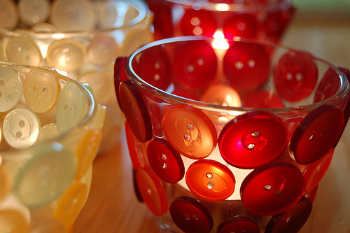 homemadecrap:  DIY Button Votives via iHanna