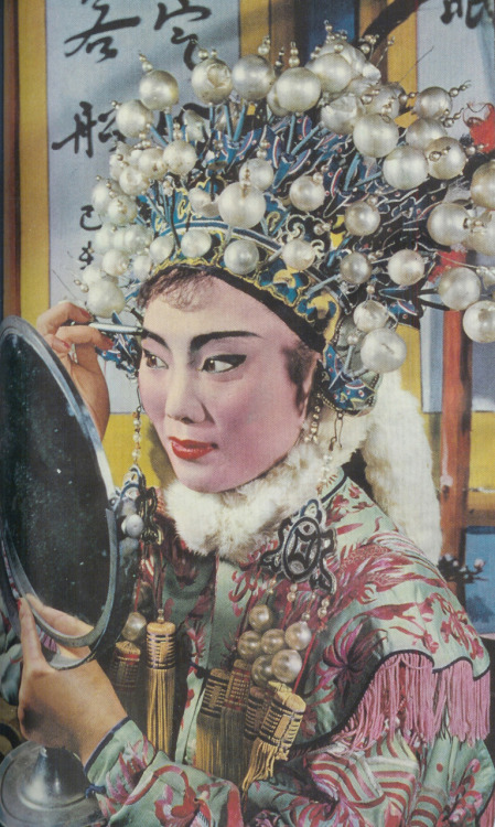 A Chinese Opera singergets ready before going on stage, Taipei, Taiwan, 1957