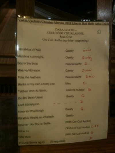 Running order for #RiadaConcert in Liberty Hall Dublin. April 23rd 2010
