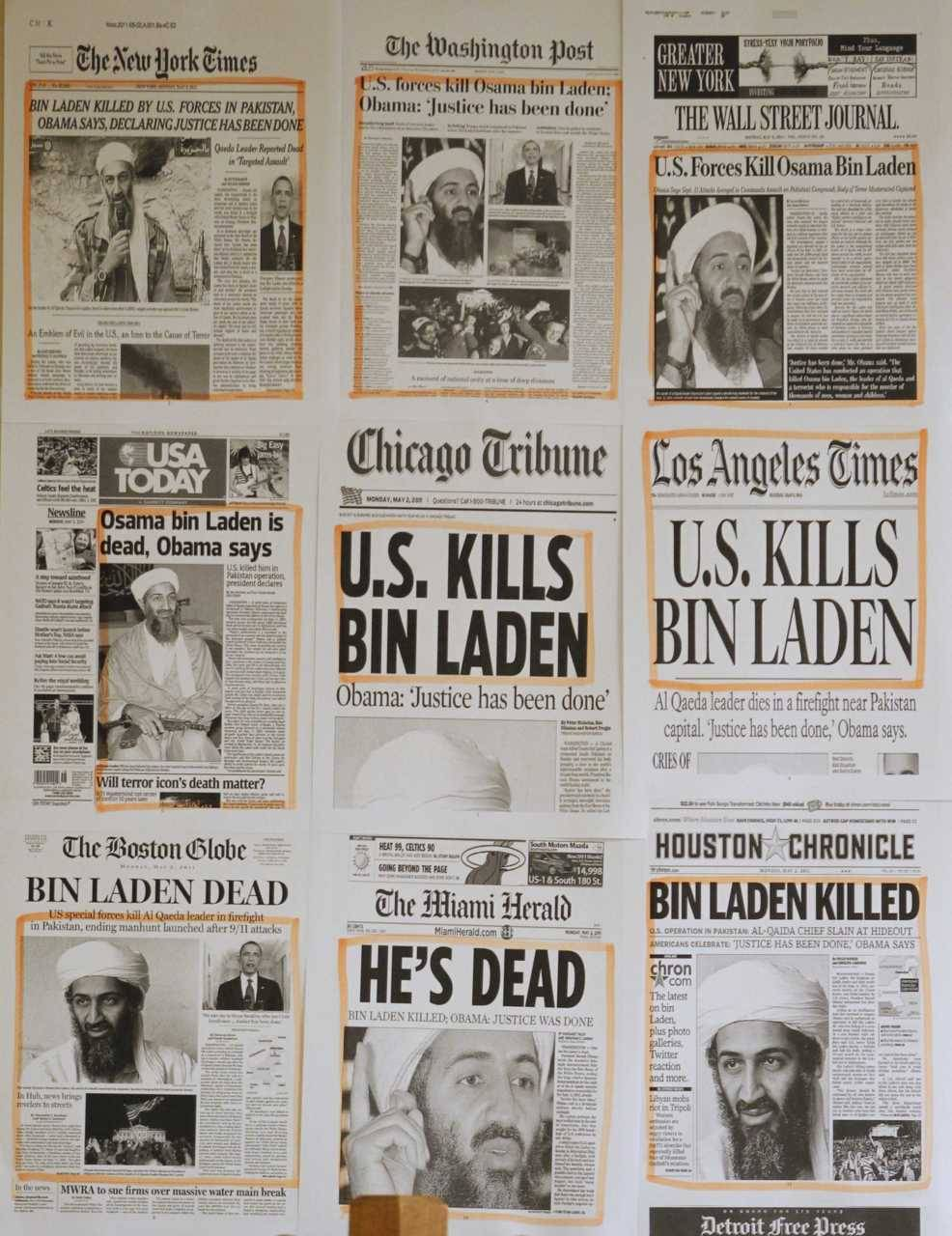 Newspaper headlines and clippings are posted on a wall inside a staff office at the White House in Washington May 2, 2011, the morning after U.S. President Barack Obama announced the death of Osama bin Laden. (Jason Reed/Reuters)Christopher Hitchens: Osama, like Saddam, was tracked to a shrunken domain Charles Lewis: Forgive Bin Laden? No way in hell RCMP assessing threat to Canadians after Bin Laden death Daughter of Canadian 9/11 victim in 'shock' over bin Laden death
