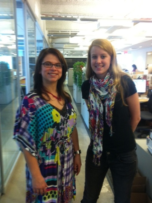 My coworker Kelly & I at work today. We're embracing spring & cheering up our day with bright colors!My  dress is a hand me down from another coworker from the swap meet I had a  few weeks ago. And Kelly's scarf is from Urban Outfitters.
