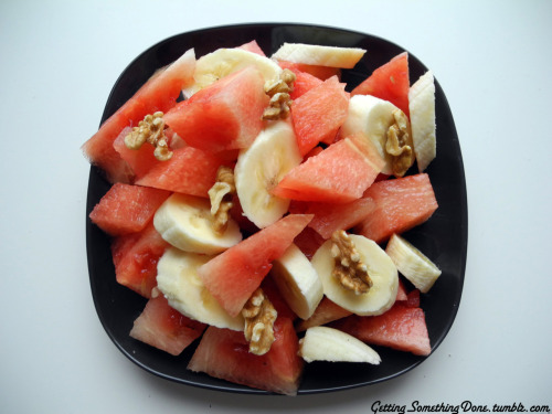 water melon, a banana and walnuts