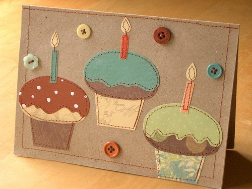 Sewn Cupcake Card (by PatchworkPottery)