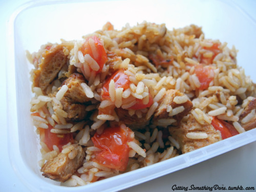 rice, tomato and soy medaillons