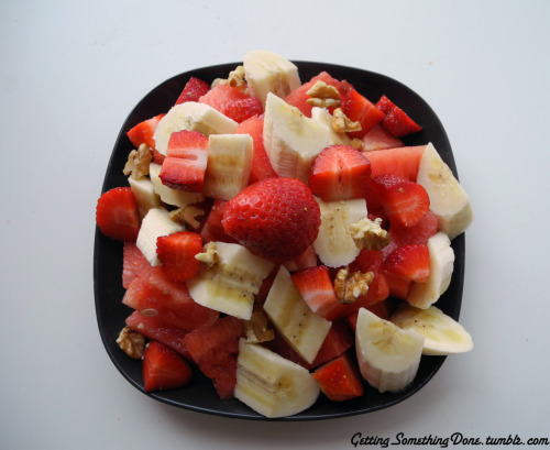 banana, walnuts, water melon and strawberries
