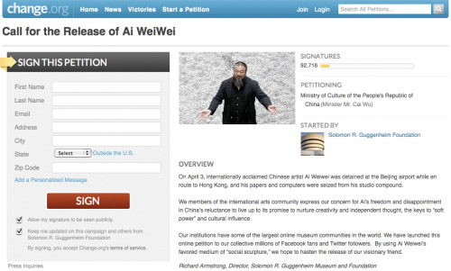 "Can artists change the world? Can petitions save Ai Weiwei?  …..more and more artists around the world are devising projects that harness their creative sensibilities—and, significantly, their international profiles—to both raise awareness and improve living conditions. Brooklyn-based Swoon, for example, helped build a community center and shelters in Haiti. Vik Muniz advocates for Brazil's garbage pickers. Most famously—and ominously—Ai Weiwei criticized shoddy construction in schools in China's earthquake zones, along with other government policies, resulting in his detention last April.The art world swiftly and unilaterally denounced his arrest, and the Guggenheim launched an online petition demanding Ai's release. Whether Chinese officials will see the 127,789 (at press time) signatures is an open question. But again, what's the alternative? The petition keeps the story alive and lets people feel their voices are heard, at least by someone. The prospect of more tangible measures—sanctions or a boycott—was regarded by several museum directors I spoke to as beyond the bounds of feasibility, given the realities of traveling exhibitions and loans, among other cultural, political, and financial entanglements.But others are considering boycotts as a strategic option for activism. A group organized by artists Walid Raad and Emily Jacir released a petition demanding closer regulation of labor conditions for migrant workers at the Guggenheim Abu Dhabi; some signers are already boycotting the museum until ""fully verifiable procedures for protecting the rights of the workers"" are in place. The museum responded that Human Rights Watch paints an ""inaccurate picture"" of the progress it has made and continues to make. Another petition was launched by anonymous artists to protest the firing of Sharjah Art Foundation's director, Jack Persekian, over a purportedly offensive piece in the emirate's biennial this past spring. Some signers of that petition have also raised the possibility of a future boycott.It's clear from these efforts that as centers of power in the art world emerge beyond its longtime traditional capitals, questions of how to evaluate and influence human-rights issues have become more complicated.  ""I don't think these are the last petitions we'll see,"" says Creative Time chief curator Nato Thompson, who likens them to social-network activism in Tunisia, Egypt, and elsewhere. ""These are new equations. Artists are finding they can organize and have power in a way they didn't used to,"" he notes. ""They're finding ways their community can demand ethical behavior…."" Read more in ARTnews"