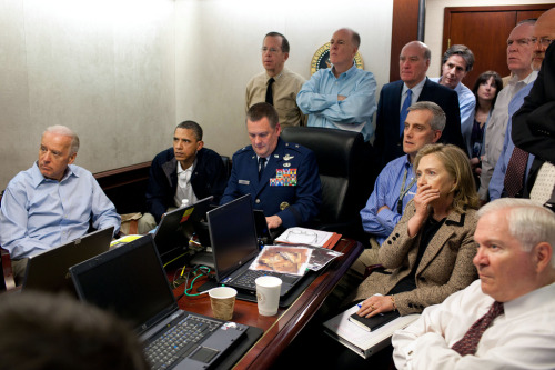 "spytap:  soupsoup:  Watching the mission to kill Bin Laden unfold. Official White House Photo by Peter Souza :   President Barack Obama and Vice President Joe Biden, along with members of the national security team, receive an update on the mission against Osama bin Laden in the Situation Room of the White House, May 1, 2011. Please note: a classified document seen in this photograph has been obscured.   The West Wing has totally spoiled me as to what somewhere called ""The Situation Room"" looks like.  Must-see TV."