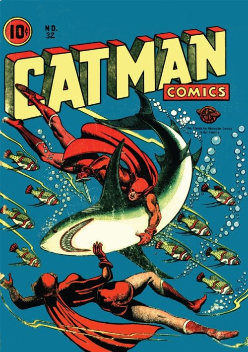 (via Covered: Catman Comics 32)  Original cover by L. B. Cole; Continental 1946.
