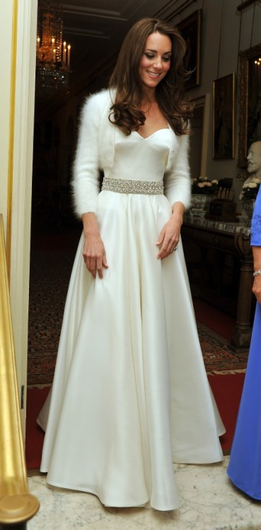 Princess Kate stepped out in a 2nd wedding dress before the royal reception at Buckingham palace. Not getting as much press, it is a second dress designed by Sarah Burton of Alexander McQueen. It is my favorite of the two.
