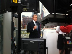A photo behind-the-scenes of @BWilliams on @NBCNightlyNews at Ground Zero during a special one-hour broadcast on the death of Osama Bin Laden. (via @AaronSasson.)