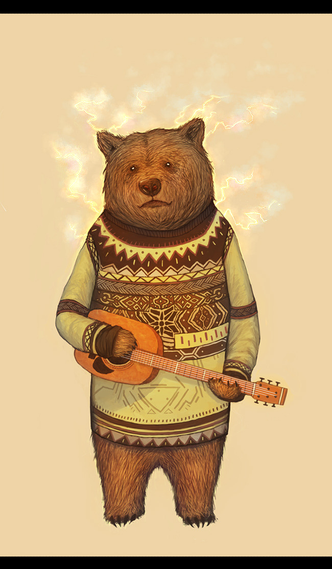 lieinthesun:  Sometimes when im sad a large bear comes and plays me songs on his banjo. And then I feel better.