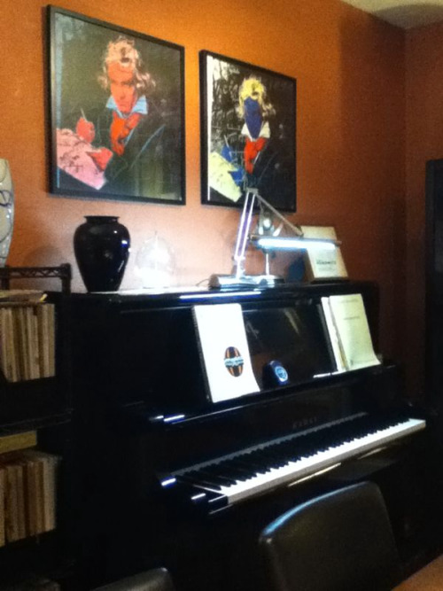 Andy Warhol Beethoven posters! Nicely placed over the beautiful piano