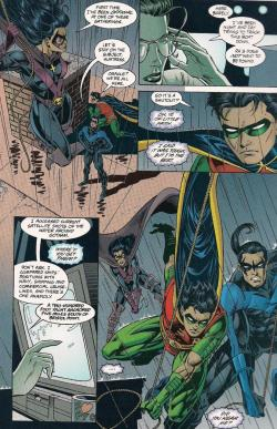 Nightwing, Robin, and Huntress working together with assistance from Oracle. Batman's instructed them to look for Ra's boat, The Strike.