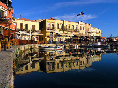 Rethymno: old harbour  reflections (by Theophilos)