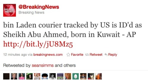 The courier who the U.S. tracked: Sheikh Abu Ahmed, known to U.S. officials only as Abu Ahmed al-Kuwaiti for a long while, is a Kuwaiti man and reported shadowy figure who was reportedly Osama bin Laden's most trusted courier, according to information gathered by the Associated Press. (via @breakingnews)