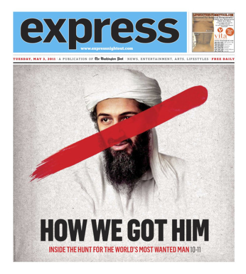 Washington Post Express' take on the Osama bin Laden story, May 3, 2011. Designed by Scott McCarthy. (Disclosure: SFB editor Ernie Smith works here when he isn't posting pictures of cats. | via @adamgriffiths)