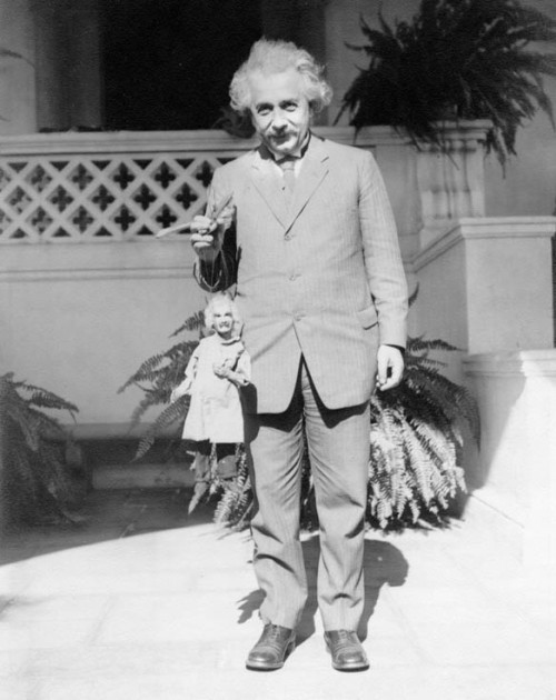 Albert Einstein with an Albert Einstein puppet in Los Angeles. Probably 1931, when he was at CalTech.