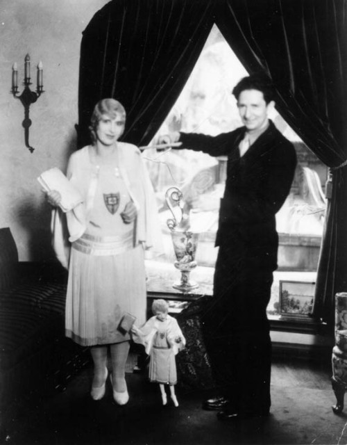 Aimee Semple McPherson with a puppet in her likeness.