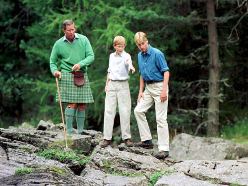 lovelydianaprincessofwales:  August 16, 1997 - Prince Charles with Prince William and Prince Harry in Balmoral