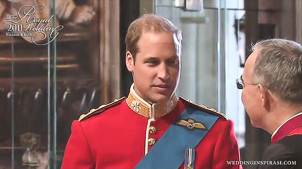Prince William, Duke of Cambridge with the Dean of Westminster on his wedding day on 29th April 2011.
