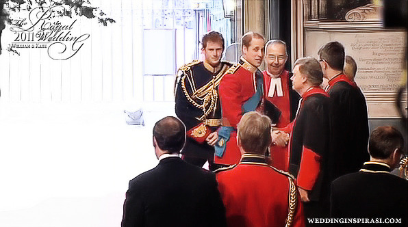 Prince William, Duke of Cambridge and his best man and brother Prince Harry at Westminster Abbey on 29th April 2011.