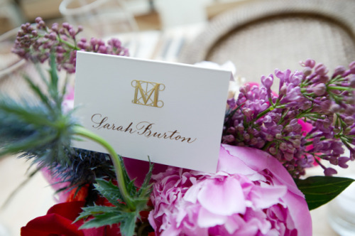 Sarah Burton's place card for the #MetGala.