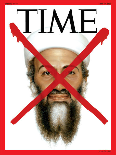 "TIME gives Osama bin Laden it's ""Red X"" treatment — previously used to mark demises of Adolf Hitler,  Saddam Hussein and Abu Mousab al-Zarqawi — on the cover of its special issue this week. Monday evening, the cover was beamed on the Nasdaq screen in Times Square."