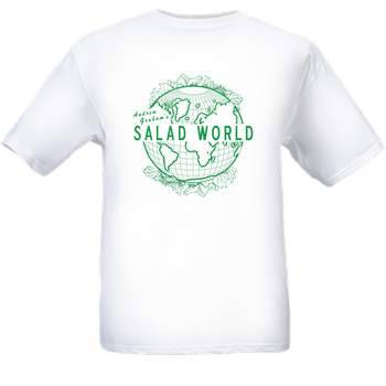 "Andrew Graham's SALAD WORLD T-Shirts - $15 Paypal to graham.414@osu.edu The first step to opening my all-salad restaurant.  Perhaps we'll take the liberty of calling any heterogeneous mixture a ""salad"" in the interest of diversifying the buffet.  For example, soups could be ""soothing salads."" Hard Salad. Strong Salad. Slippery Salad.  Round room. Empty center. 360 degree salad bar. Pay at the door - we don't have waiters, we just have a doorman.  Buy the goddam T-shirt already."