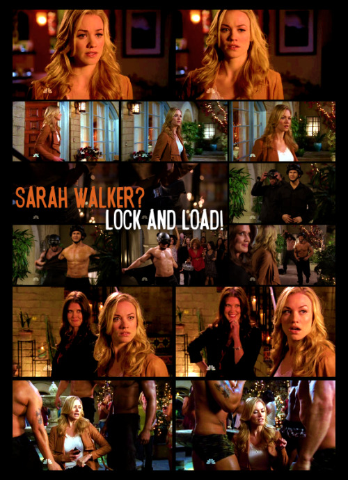 cirrusz:  4.22 - Sarah Walker - Lock and load Sarah Walker?Lock and load!♪ ♪ Um&Oh, okay, uh,I mean, do you mind if I make a phone call?All right. Oh.Okay. Um&Im sorry.I dont mean to look at&Im sorry. Okay, um&General, I need you to put me in touch with our agents in Las Vegas, please.Ooh, um, is that a gun? No.